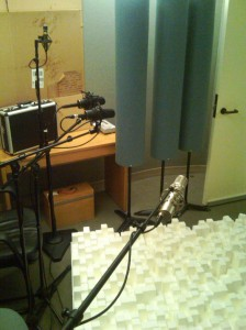 stereo re-amping photo of microphones and diffusors