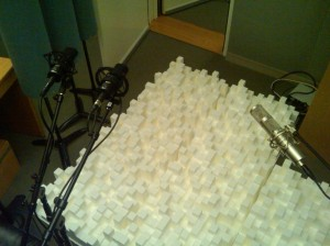 pic of studio re-amping with diffusion and microphones