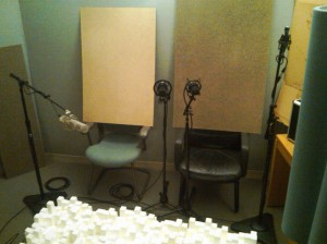 studio re-amp with microphones reflectors and diffusors