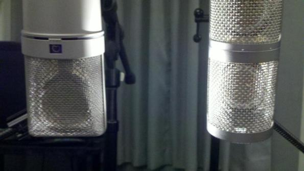 Neumann u87Ai and Studio Projects LSD-2 microphones close view with capsules visible