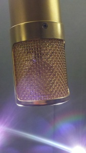 Lawson L47 tube condenser microphone rear view closeup with visible mic element