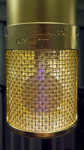 Lawson L47 tube condenser microphone front view with illuminated element