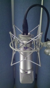 Neumann u87 condenser microphone front view with logo in spider shockmount