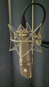Neumann u87 condenser microphone profile view with mic element reflection and spider shockmount