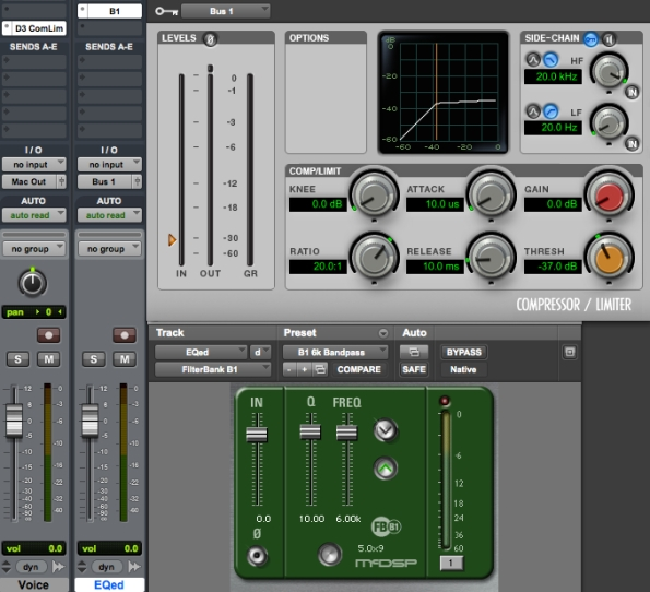 Bandpass filter plus side-chain compressor used to make a DIY de-esser in ProTools