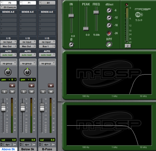 Three filters and a side-chain compressor create a DIY de-esser in ProTools