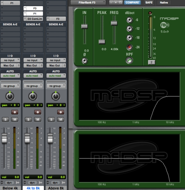 Crossovers and side-chain compression plug-ins create a precise DIY de-esser in ProTools