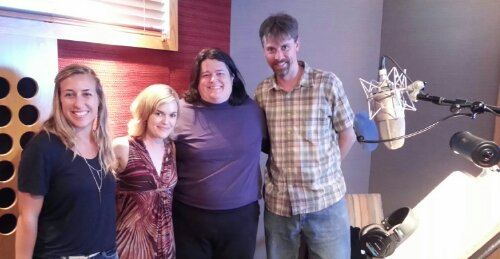Ashley (Kaye) Bravo, Kari Wahlgren, Vickie Saxon, and Randy Coppinger at recording session for Frozen Storybook Deluxe