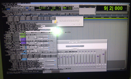 ProTools error with code superimposed on left side of screen